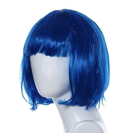 Culater Pelucas de pelo corto Masquerade show broma guión (Azul)
