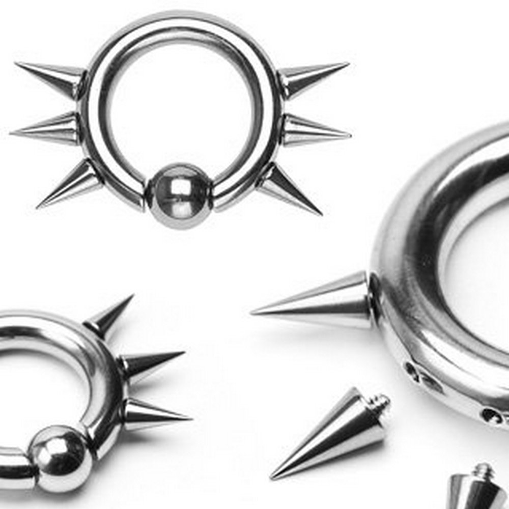 Body Gauges 4GA - 5/8'' - 8mm - Surgical Steel Easy Snap-in Captive Bead Ring w/ 6 Internally Threaded Spikes by Body Gauges