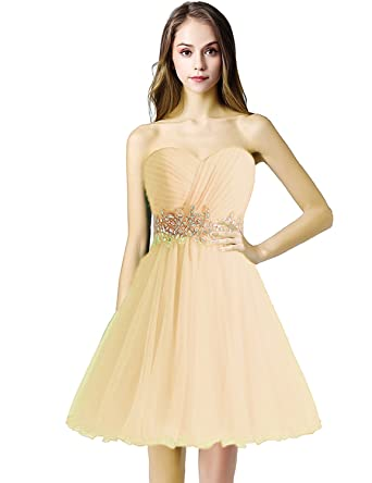 Sarahbridal Omens Sweetheart Rhinestone Prom Dresses for Sweet 16 Homecoming Party Gowns Champagne US2
