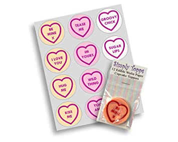 12 Love Heart Sweets Toppers Rice Paper Fairy Cup Cake 40mm Pre