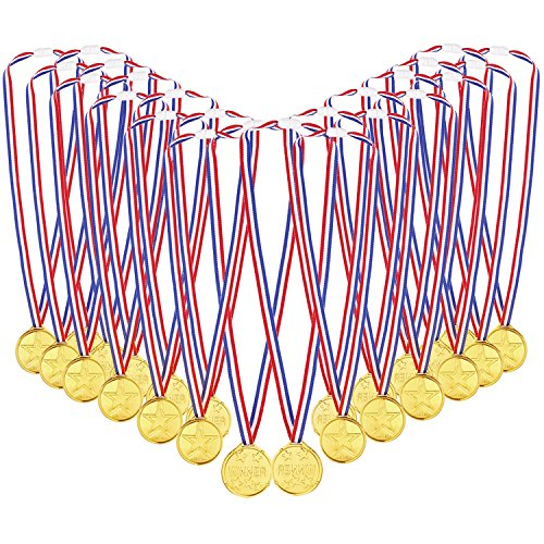 Caydo 72 Pcs Kids Children's Gold Plastic Winner Award Medals