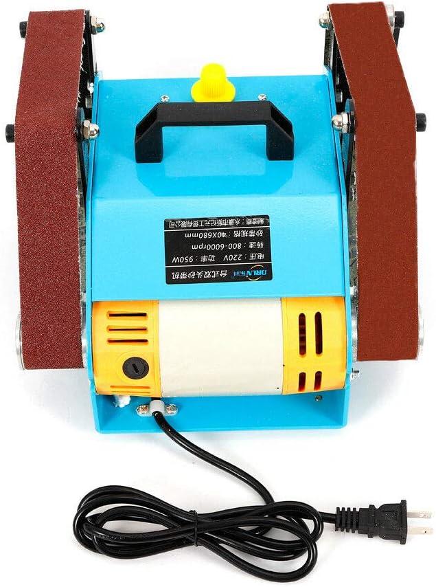 Wangkangyi 950W Mini Doppelachse Schleifmaschine Band-Tellerschleifer Electric Bandschleifer 220V Double Axis Bench Grinder Polierwerkzeug 6000rpm
