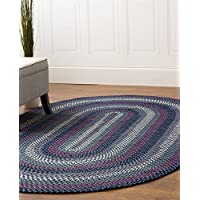 Super Area Rugs, Santa Maria Braided Indoor Outdoor Rug Washable Reversible Blue Patio Deck Carpet, 2 X 4 Oval