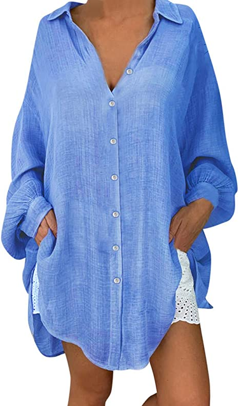 SamMoSon_- Blusa para Mujer de fluida, Estilo Casual, Elegante, Elegante, Cuello en V, Mangas cálidas, Camisas Lisas, Bebé-Niñas, Bleu&1, 5XL: Amazon.es: Deportes y aire libre
