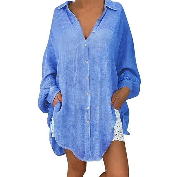 QinMMROPA Camisas Vestido Largo de Gasa para Mujer Tallas Grandes ...
