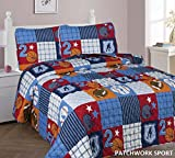 Elegant Home Multicolor Patchwork Sports Football Basketball Baseball Design 2 Piece Coverlet Bedspread Quilt for Kids Teens Boys Twin Size # Patchwork (Twin Size)