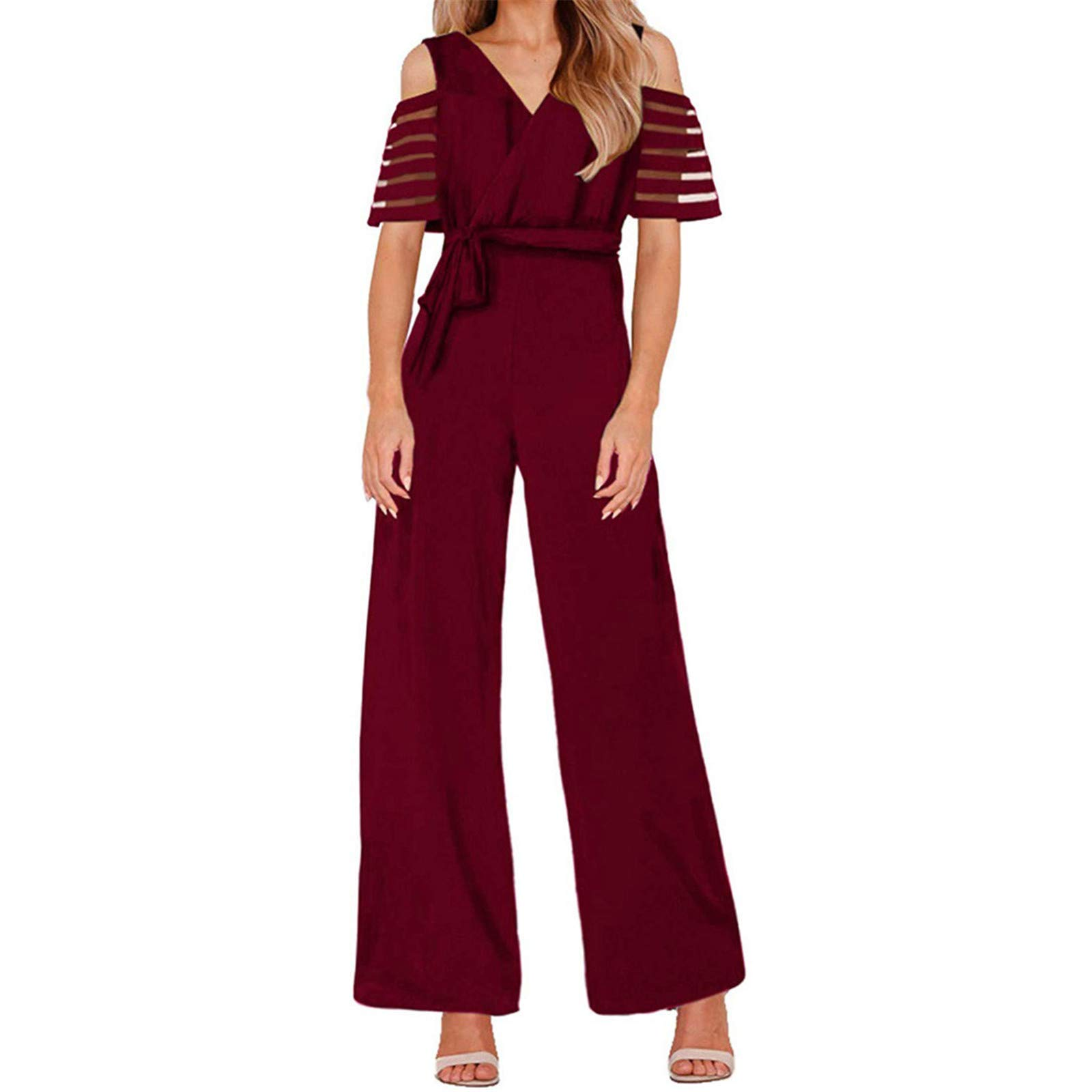 Thenxin Office Lady Jumpsuit V Neck Cold Shoulder High Waist Wide Leg Long Romper with Belt(Red,S)