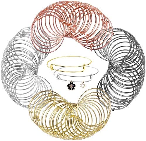Expandable Bangle Bracelets Adjustable Wire Bracelets, Blank Bangles for DIY Jewelry Making(68 Pcs)