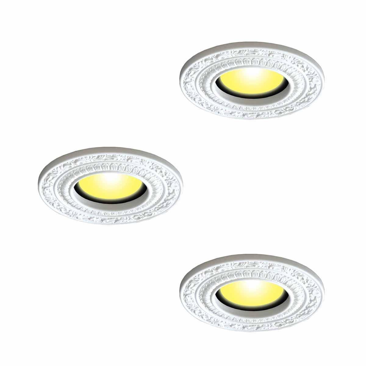 3 Spot Light Trim Medallions 6'' ID White Urethane Set Of 3