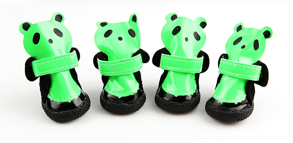 Pet Casual Boot, Leather Waterproof Non-slip Dog shoes Spring Summer Models Velcro Strap Wear-resistant Oxford 4 PCS Small Dog Panda shoes 3 color & 5 Size (color   Green, Size   4 )