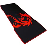 """Extended (XXL) Large Gaming Mouse Pad - Smooth Surface, Non-Slip Rubber Backing, Extra Thick & Double Stitched [Red & Black Dragon Design] 30"""" x 11"""" x"""