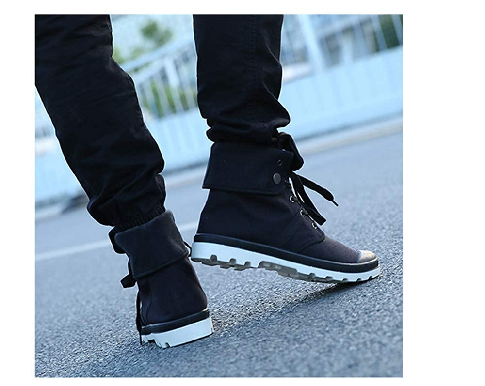 Autumn Winter Men Canvas Boots Army Combat Style High-top Military Ankle Boots Non-Slip Canvas Shoe