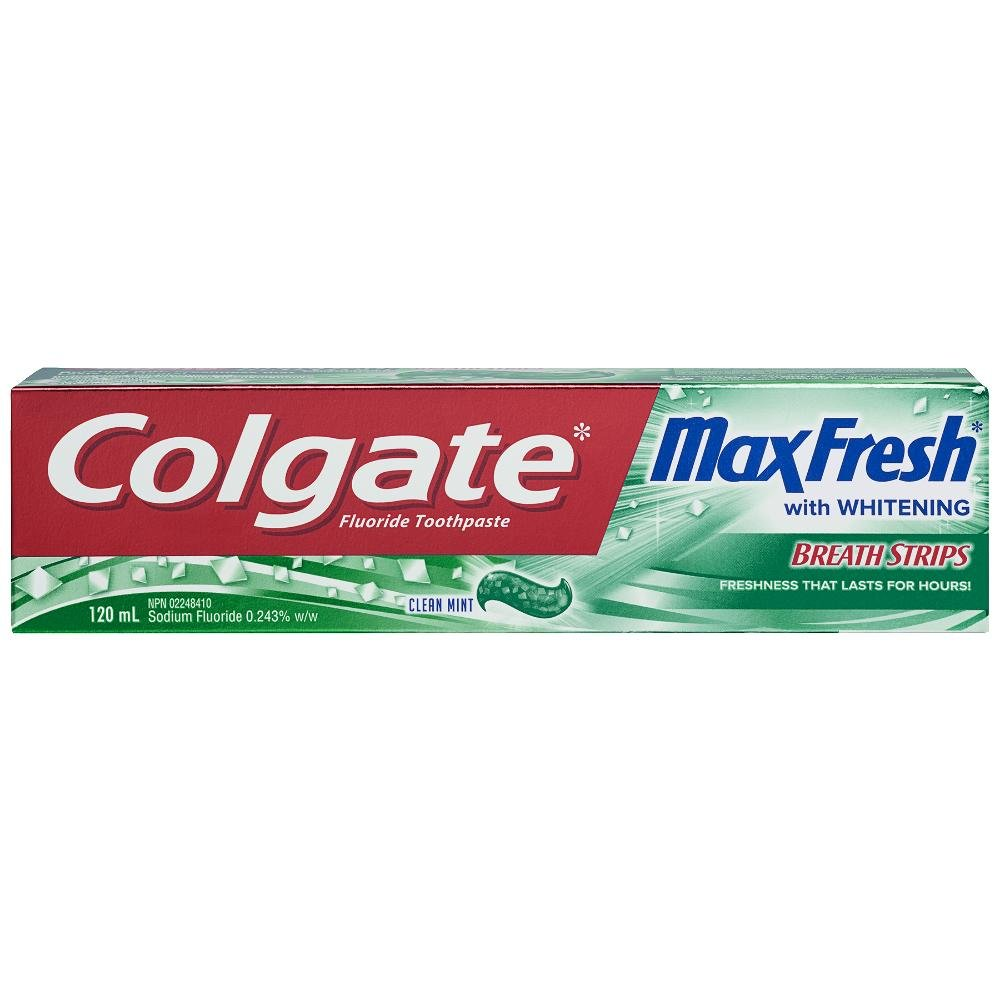 Colgate Max Fresh Toothpaste with Mini Breath Strips, Clean Mint, 120mL US03528A