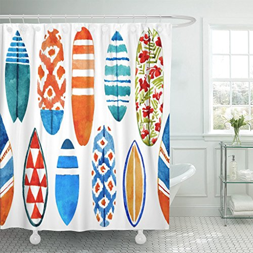 TOMPOP Shower Curtain Pattern Watercolor Surfboard Summer Beach in Wave Watercolour Aloha Waterproof Polyester Fabric 60 x 72 Inches Set with Hooks