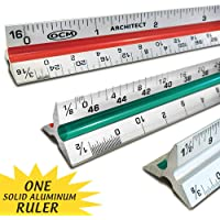 OCM 1 Triangular Architect Scale Ruler (Professional Grade Solid Aluminum) Color Coded 12 Inch Architectural Scale…