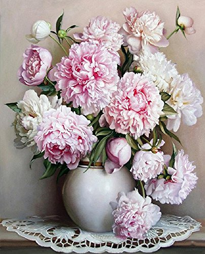 Diy Oil Painting Paint by Number Kit For Adults Kids-Blooming Flowers-Peony 1620 Inch (By Paint Number Peonies)