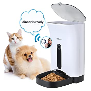 Iseebiz Comedero Automatico Gatos 4.3L Alimentador Automatico Perro Grabadora de Voz y Aaltavoz Puede Programar: Amazon.es: Productos para mascotas