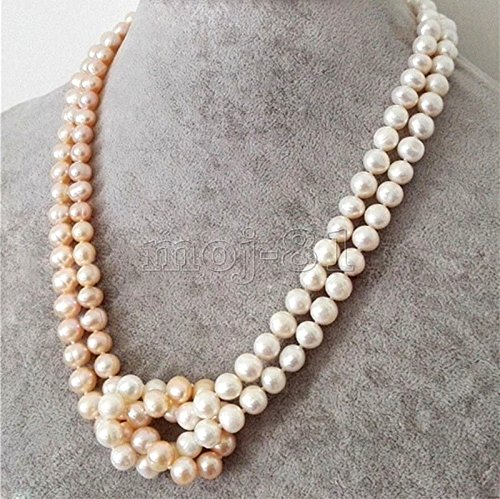 Row Pink Freshwater Pearls (Fashion Women's 2 Rows 7-8mm White &Pink Akoya Freshwater Pearl Necklace 18