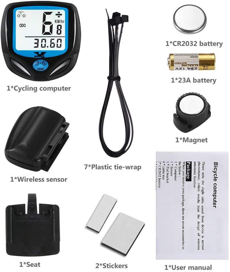DINOKA Bike Speedometer Waterproof Wireless Bicycle Bike Computer and Cycling Odometer with Automatic Wake-up Multi-Function LCD Backlight Display B-368