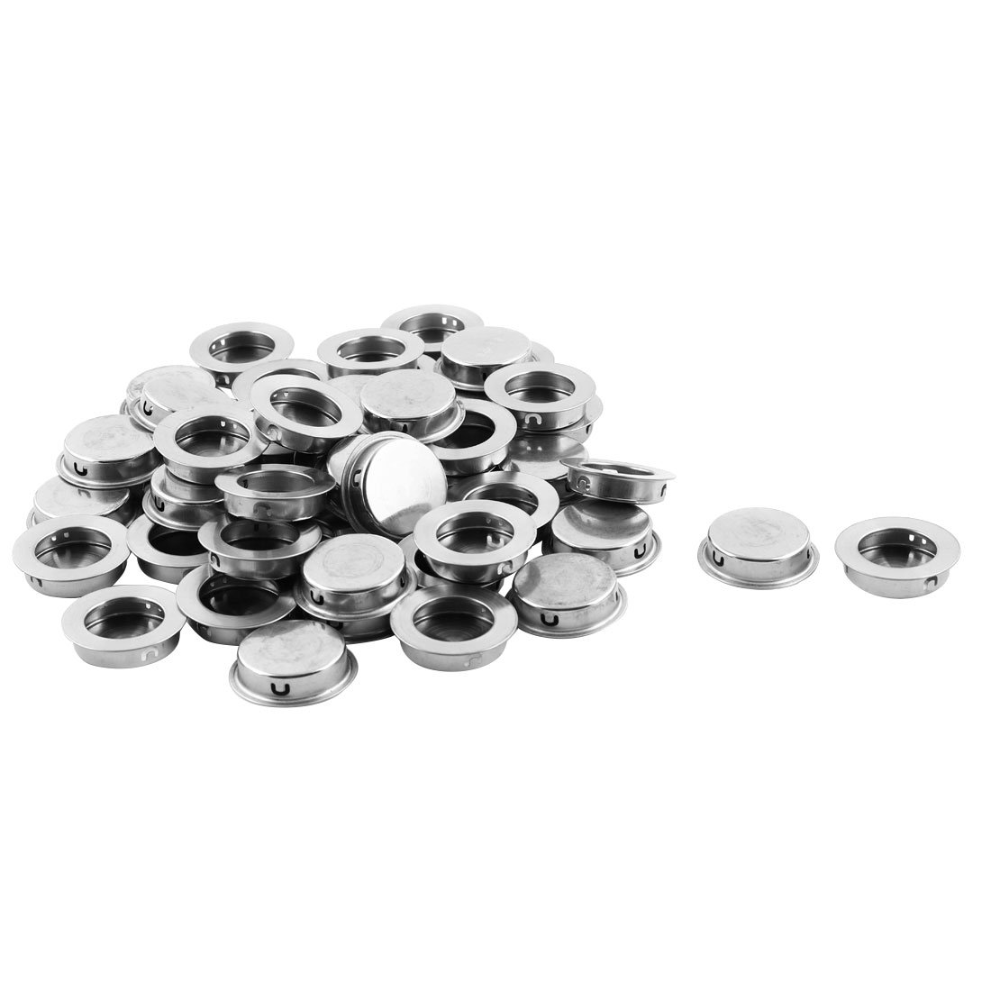 uxcell Drawer Closet Stainless Steel Embedded Round Flush Pull Handles 35mm Dia 50 PCS