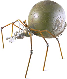 product image for Army Ant - Recycled Metal Garden Sculpture with Vintage Army Helmet, Made in USA