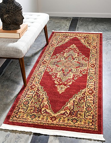 """Unique Loom Sahand Collection Traditional Geometric Classic Red Runner Rug (3' x 7') - Made in Turkey, this Unique Loom Sahand Collection rug is made of Polypropylene. This rug is easy-to-clean, stain resistant, and does not shed. Colors found in this rug include: Red, Brown, Light Blue, Light Brown, Blue. The primary color is Red. This rug is 1/2"""" thick. - runner-rugs, entryway-furniture-decor, entryway-laundry-room - 61LS3p%2BCN9L -"""