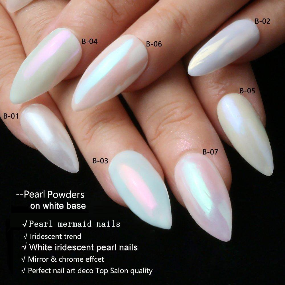 Ushion 7-Pack Pearl Powder Nail Art Set Mermaid Mirror Chrome Powder ...