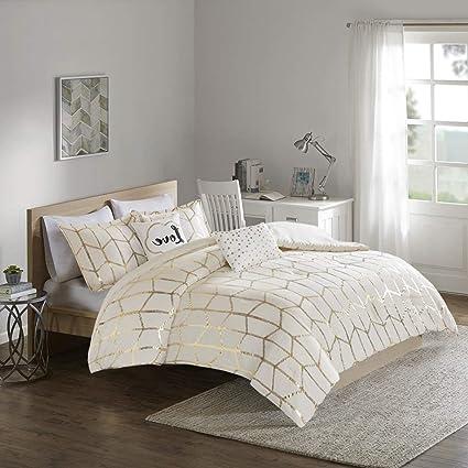 Amazon.com: 5 Pc Ivory/Gold, Beautiful Comforter Set King ...