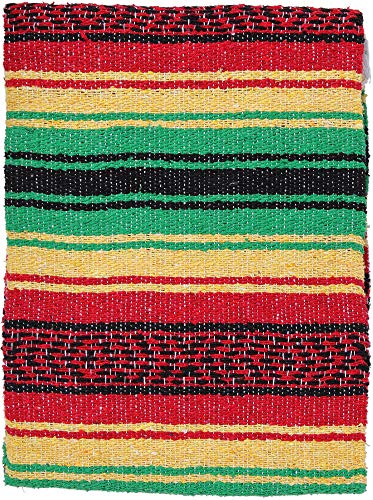 El Paso Designs Genuine Mexican Falsa Blanket - Yoga Studio Blanket, Colorful, Soft Woven Serape Imported from Mexico (Rasta) (Rasta Color Blanket)