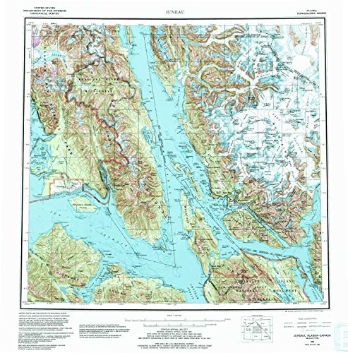 YellowMaps Juneau AK topo map, 1:250000 Scale, 1 X 2 Degree, Historical, 1962, Updated 1992, 22.3 x 22 in - Polypropylene -