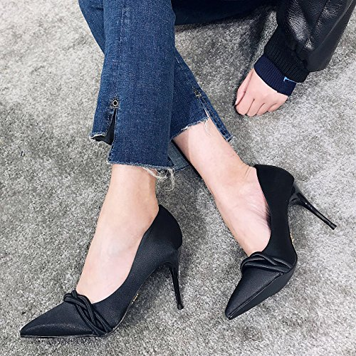 Pointed All MDRW Work Elegant 5Cm Match 8 Heeled Fine Spring Shoes Leisure High With 39 Lady Shoes Black Socialite Princess Shoes r00WBa
