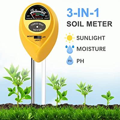 JeahoreKy Soil pH Meter, 3-in-1 Soil Tester Kits with Moisture, Light and PH Test for Farm, Garden, Lawn, Indoor & Outdoor/No Battery Needed : Garden & Outdoor