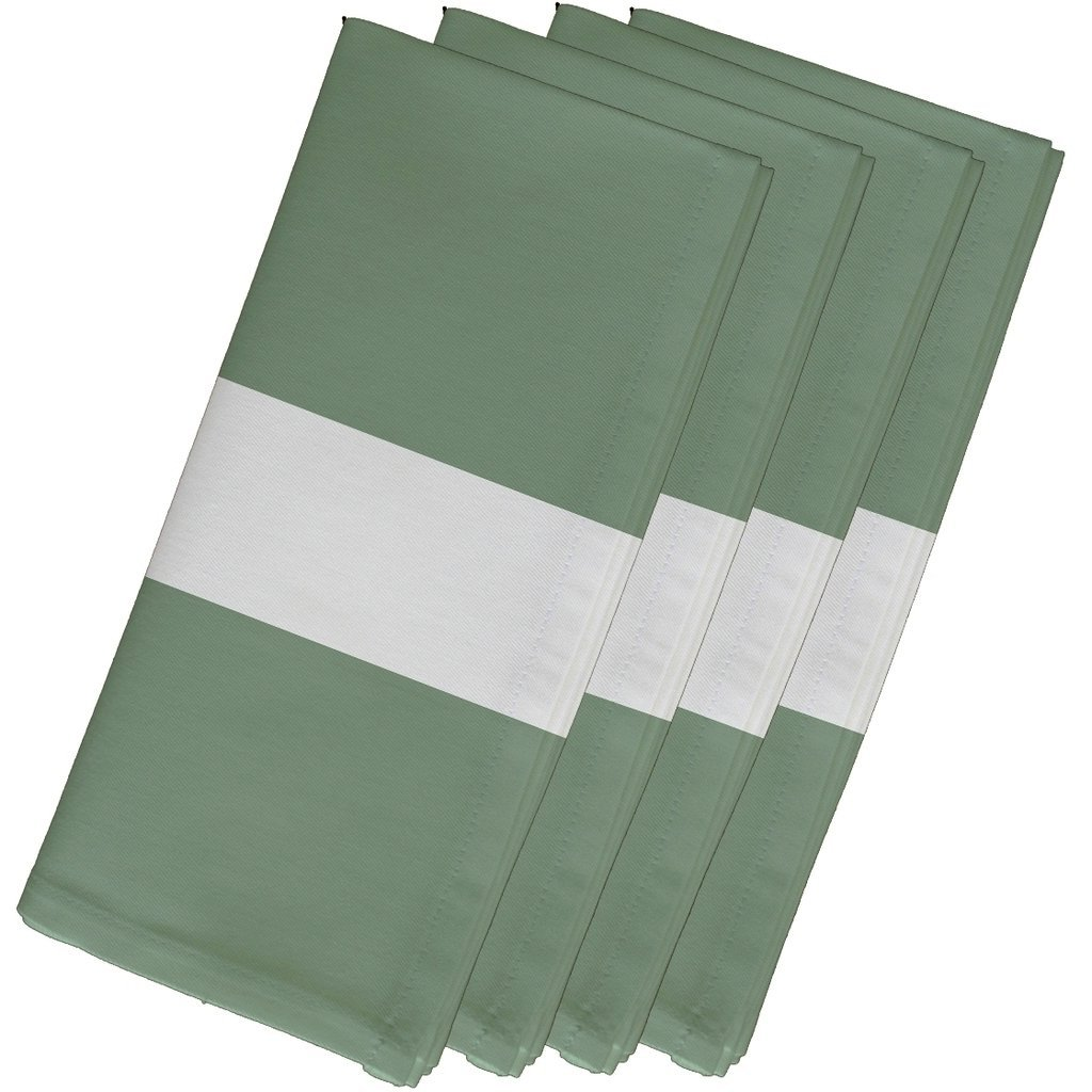 4 Piece Green Napkin (19''), Contemporary Style, Cotton Material, Stripe Pattern, Decorative Table Top Napkin Type, Horizontal Single Stripes, Suitable For Everyday, Special Occasions, Light Sage by Patriot