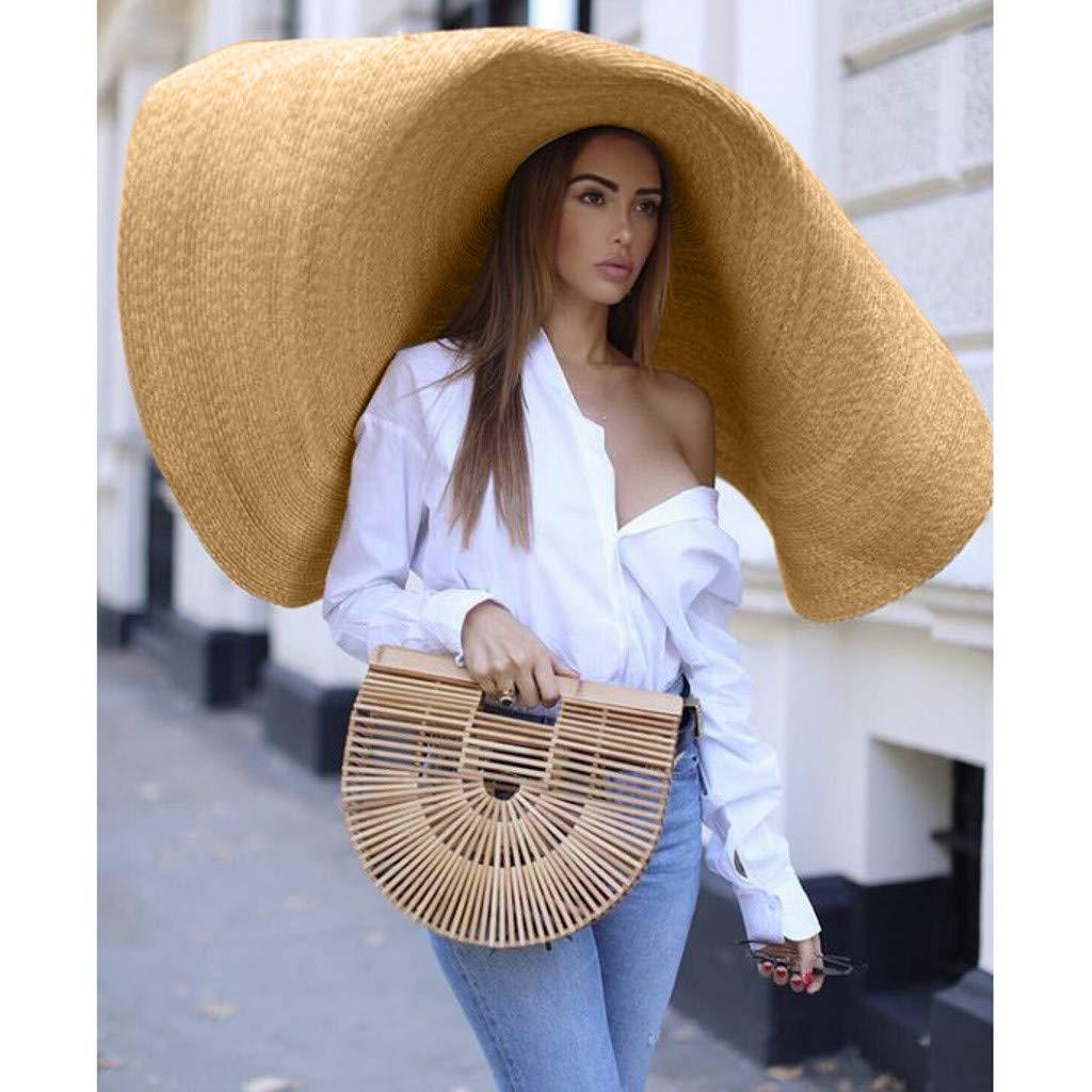 Large Big Anti-UV Sunshade Foldable Stage Catwalk Sunhat Khaki Opef Oversize Straw Beach Sun Hats for Women Ladies
