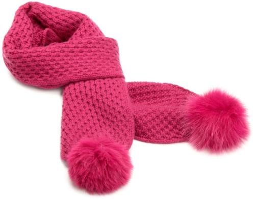 Sofia Cashmere Womens 100% Cashmere Fox Pom Pom Scarf Pink One Size
