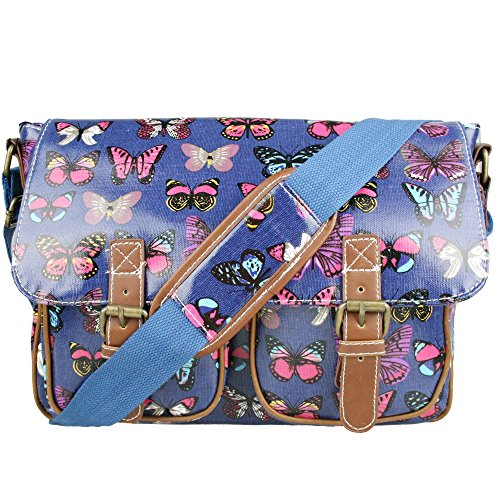 MISS LULU RETRO VINTAGE OWL LEAVES BUTTERFLY OILCLOTH OR CANVAS LADIES CROSS BODY SATCHEL MESSENGER SHOULDER SCHOOL HAND BAG Butterfly Navy