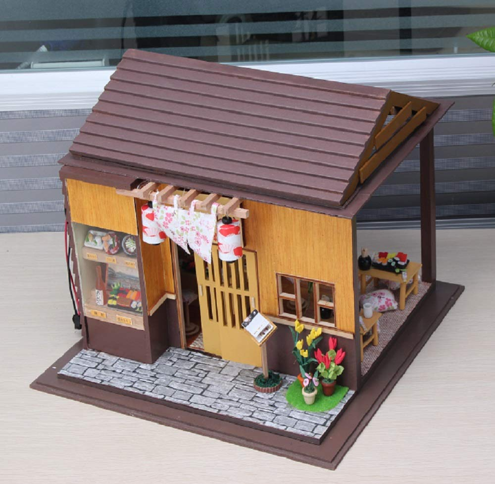 Sushi Japanese Restaurant Kisoy Miniature DIY Dollhouse Kit with Furniture Accessories Creative Gift for Lovers and Friends with Dust Proof Cover and Music Movement