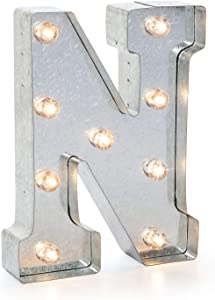 """Darice 5915-715 Silver Metal Marquee Letter – N - 9.87"""" Tall, Galvanized Silver Finish"""