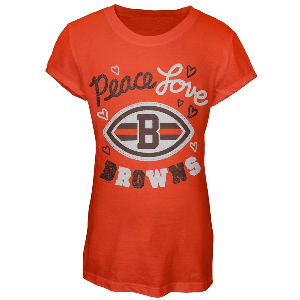 Cleveland Browns - Glitter Peace Love Logo Girls Juvy T-Shirt Orange 6/7