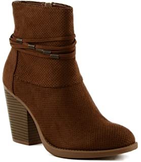 Women's Jacob Imitation Suede Ankle Boot With Wrap Accent Detail