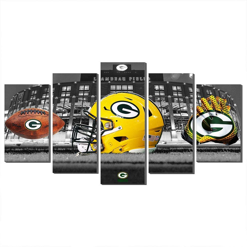 5 Pieces Green Bay Packers Paintings Canvas Prints Picture Wall Art Poster Artwork Home Decor (80x150cm,Frame)