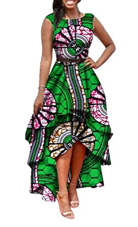 916467ff7693 Inorin Womens Dresses African Print Maxi High Low Sleeveless Party Formal  Dress