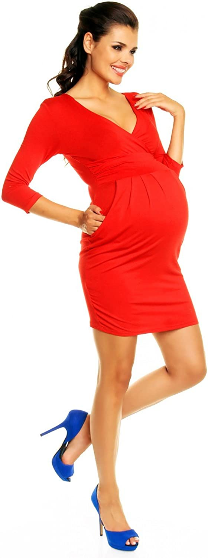 Zeta Ville Womens Maternity Wrap Nursing V-Neck Dress Pockets UK 8-20 236c