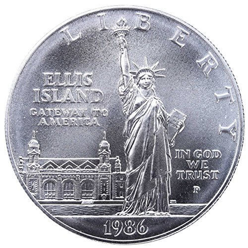 (1986 P Statute of Liberty Ellis Island Silver Commemorative Dollar $1 Brilliant Uncirculated US Mint)