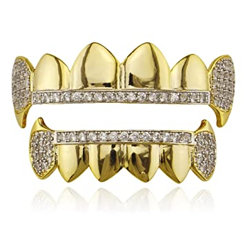 Chapado en oro Dientes de Hip Hop Parrillas Set Top & Bottom ...