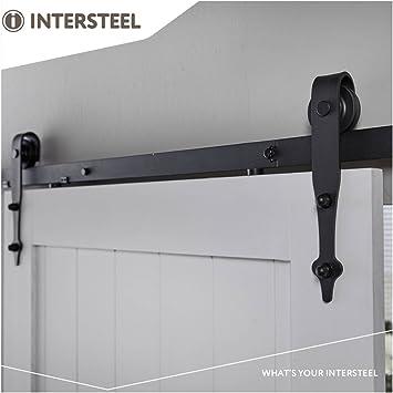 Intersteel Basic negro mate sistema de puerta corredera para puerta de madera de granero, Negro, 6,6 pies/200 cm: Amazon.es: Bricolaje y herramientas