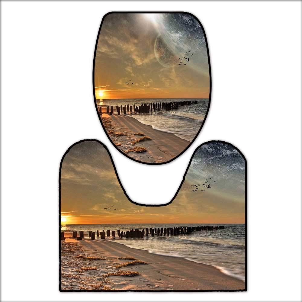 2 Piece Bathroom Mat Set Magical Solar Eclipse on Beach Ocean with Horizon Sun Moon Globe Gulls Flying View for Cream Orange. Soft Shaggy Non Slip L19 x W15.5-W12.5 x H17