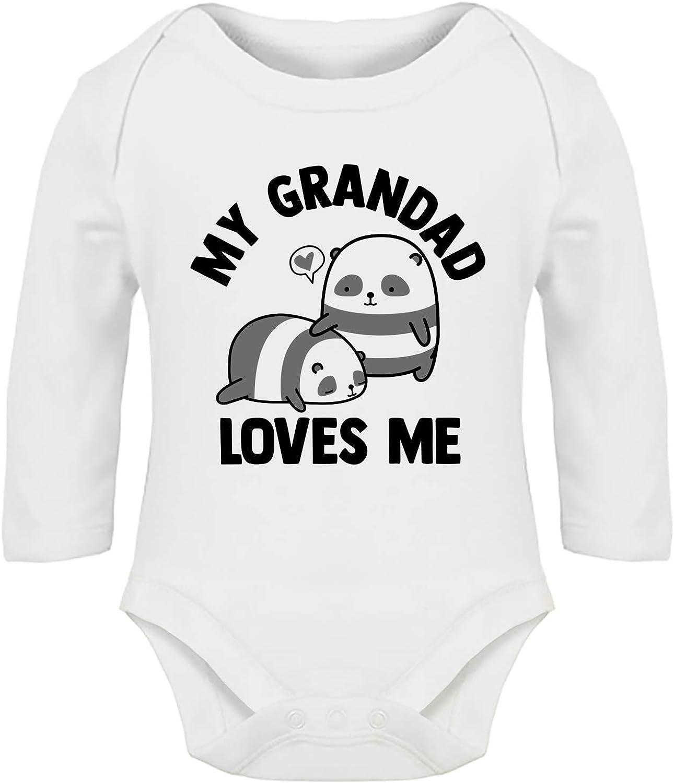 Boys Girls Hippowarehouse My Grandad Loves Me Panda Baby Vest Bodysuit Long Sleeve