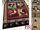 Handcraft Rugs – Area Rug for Cabin and Lodge / Burgundy Green and Multi / Geometric / Window / Rooster Pattern with Flower Boarder-5 ft. by 7 ft.