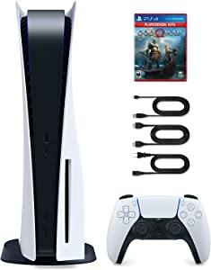 Sony Playstation 5 Disc Edition Console with PS4 God of War Game Disk Plus Entiqi 2.1 Ultra High Speed HDMI